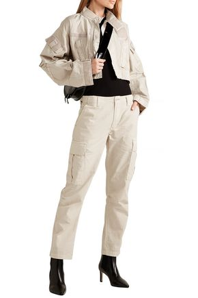 Re/done Jackets RE/DONE WOMAN CROPPED COTTON-RIPSTOP JACKET NEUTRAL