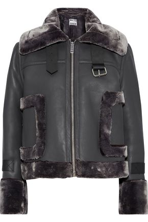 WALTER BAKER Lianna faux fur-trimmed leather jacket