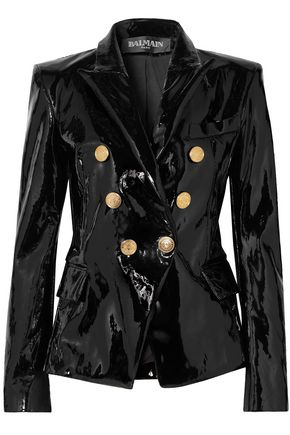BALMAIN Double-breasted patent-leather blazer