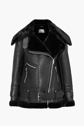 WALTER BAKER Celine faux fur-trimmed leather jacket