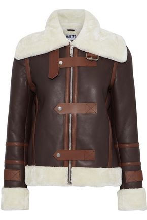WALTER BAKER Rianna faux shearling-trimmed leather jacket