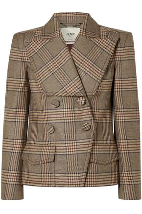 FENDI Double-breasted Prince of Wales checked wool jacket