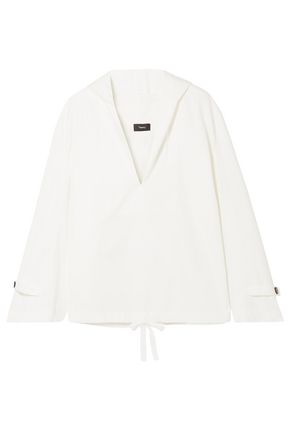 THEORY Cotton and silk-blend poplin hooded blouse