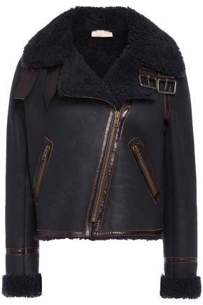 BA&SH Turso leather-trimmed shearling biker jacket