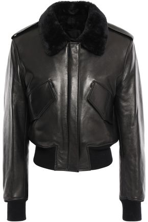 ALEXANDER WANG Shearling-trimmed leather bomber jacket
