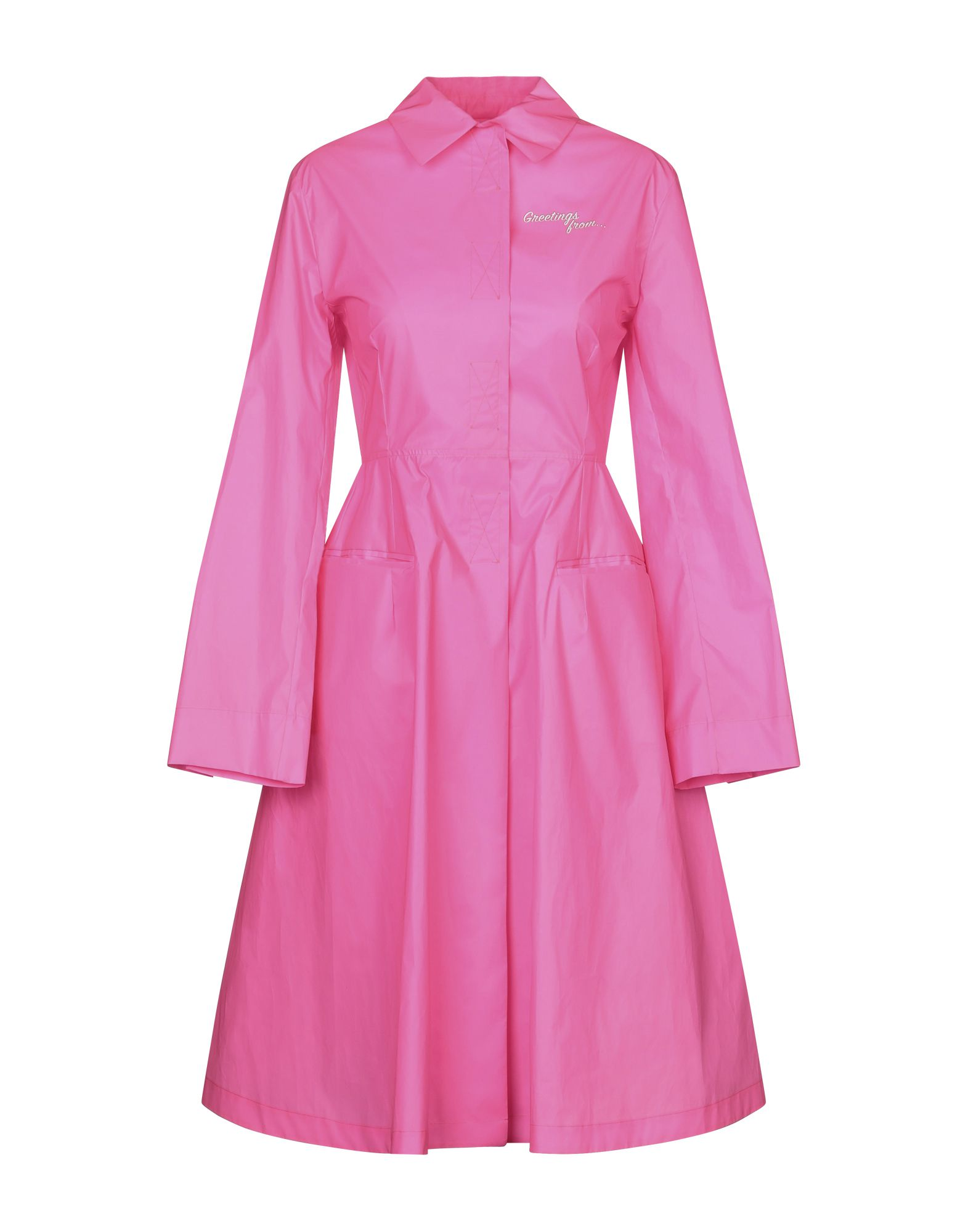 PALM ANGELS Overcoats. techno fabric, fluorescent, contrasting applications, solid color, single-breasted, velcro closure, classic neckline, multipockets, long sleeves, rear slit, unlined. 83% Polyester, 17% Polyurethane, PVC - Polyvinyl chloride, Acetate, Polyamide