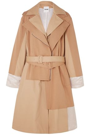 KOCHÉ Paneled cotton-jersey and twill trench coat