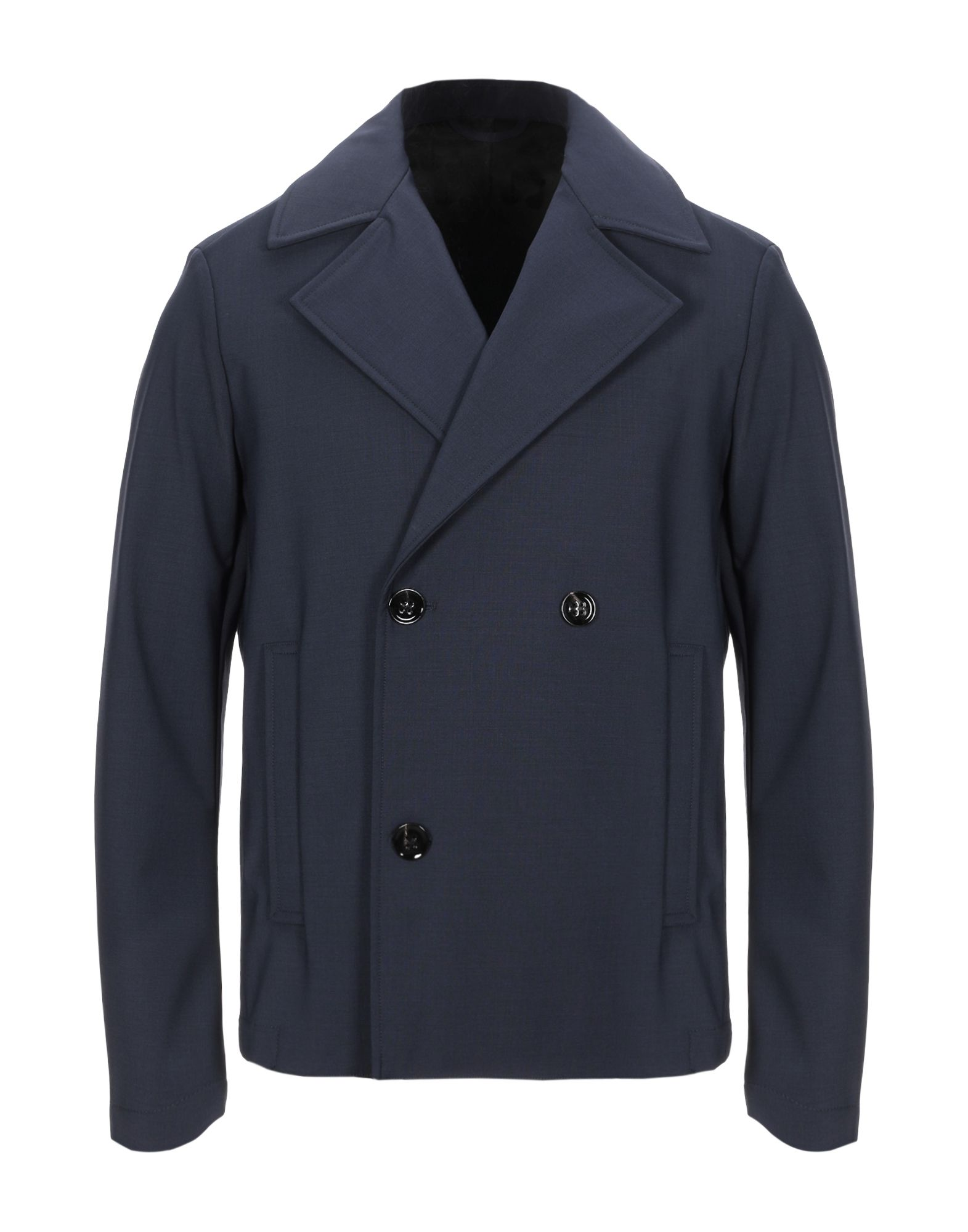DONDUP Coats. plain weave, no appliqués, solid color, double-breasted, button closing, lapel collar, multipockets, one inside pocket, long sleeves, unlined, stretch. 55% Wool, 41% Polyester, 4% Elastane