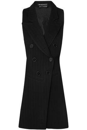 ANN DEMEULEMEESTER Open-back satin twill-paneled herringbone wool-blend vest