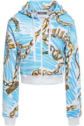 MOSCHINO Printed French cotton-terry hoodie