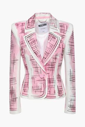 MOSCHINO Printed cotton and linen-blend piqué blazer