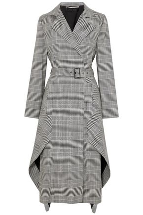 ROLAND MOURET Pullman asymmetric Prince of Wales checked wool-blend coat