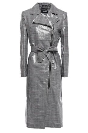 BOUTIQUE MOSCHINO Checked coated cotton and linen-blend raincoat