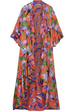 ALICE + OLIVIA Dandi reversible ruffled printed satin kimono