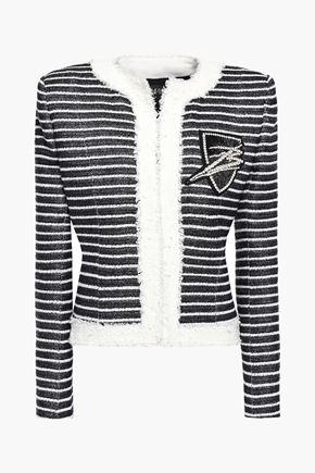 BALMAIN Embellished striped woven jacket