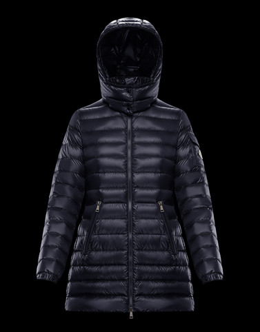 MENTHE Dark blue Short Down Jackets Woman