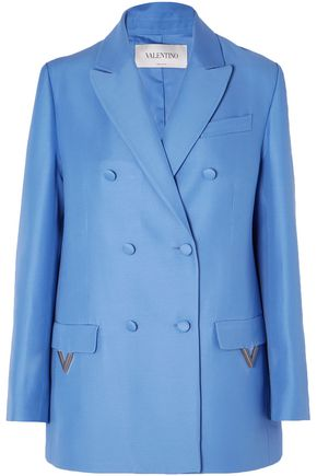 VALENTINO Oversized double-breasted wool and silk-blend blazer