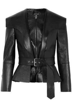 ALEXANDER MCQUEEN Textured-leather peplum jacket