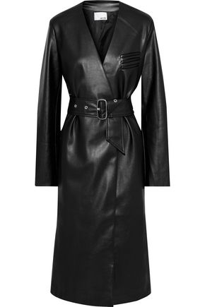 EACH X OTHER Belted faux leather coat