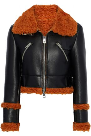 AINEA Cropped faux shearling and leather jacket