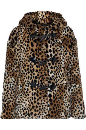 AINEA Hooded leopard-print faux fur coat