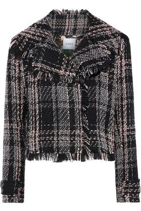 AINEA Cropped cotton-blend tweed jacket