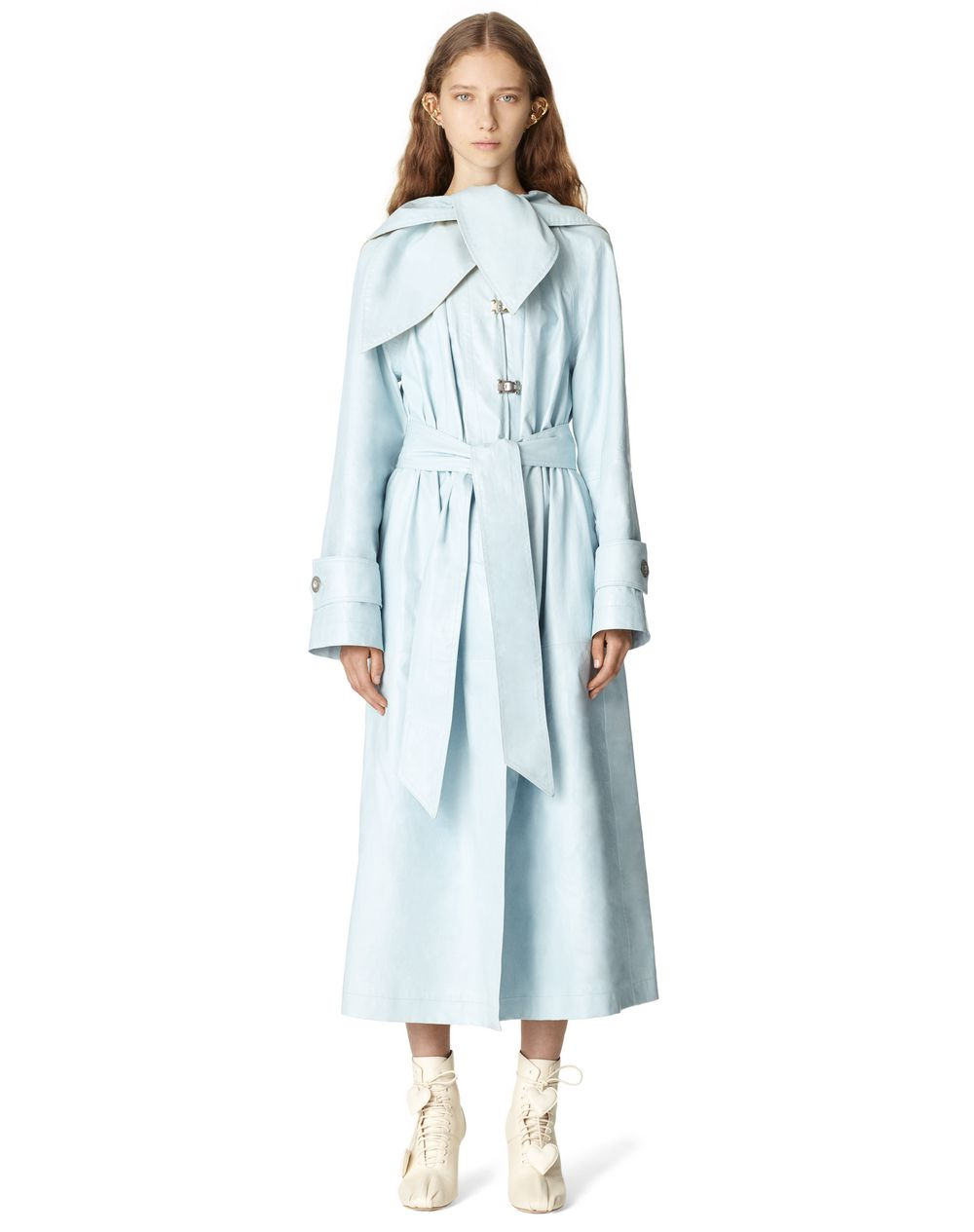 BELTED LEATHER TRENCH COAT WITH SCARF COLLAR - Lanvin