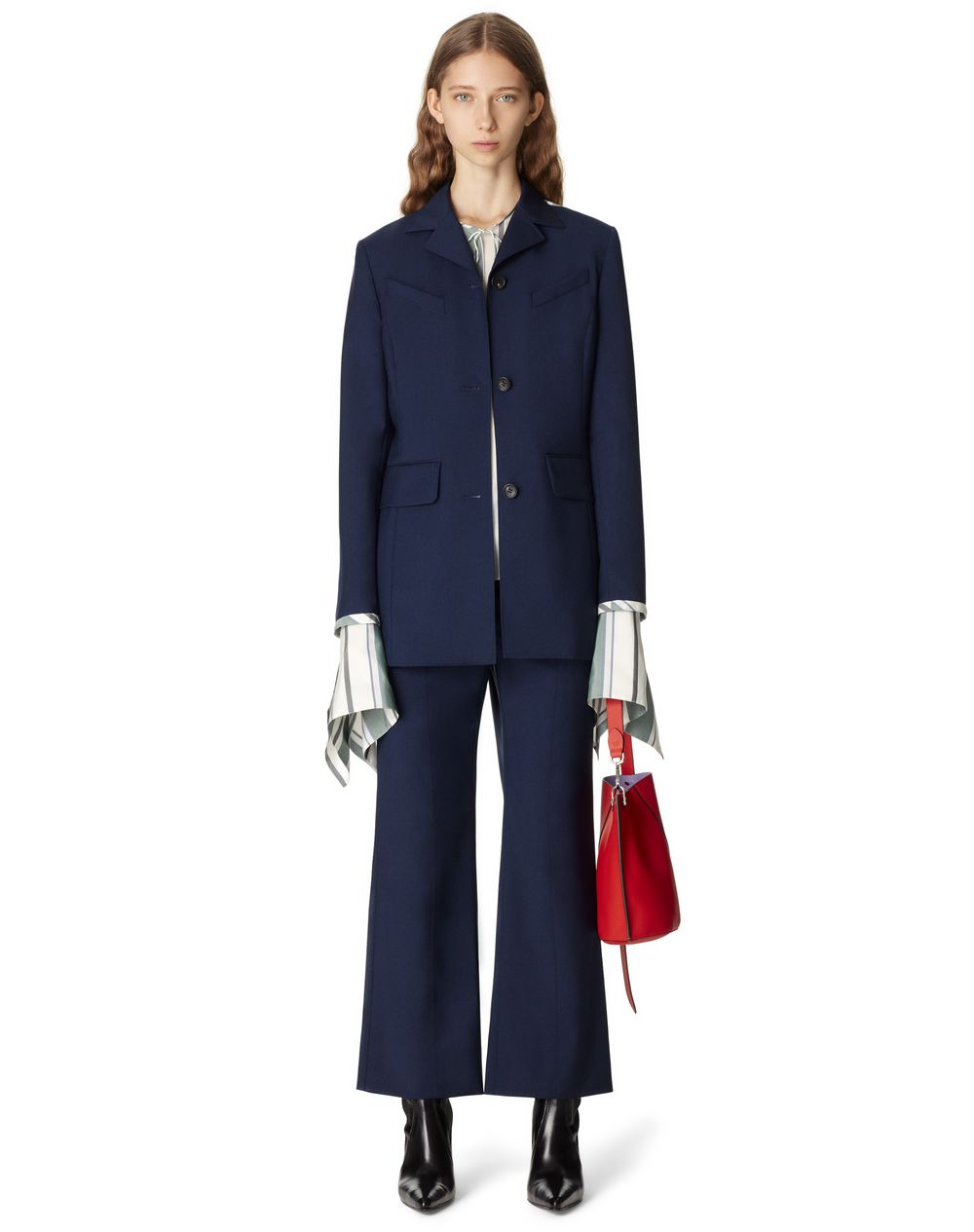 WAISTED TAILORED BICOLOR JACKET IN WOOL AND MOHAIR - Lanvin