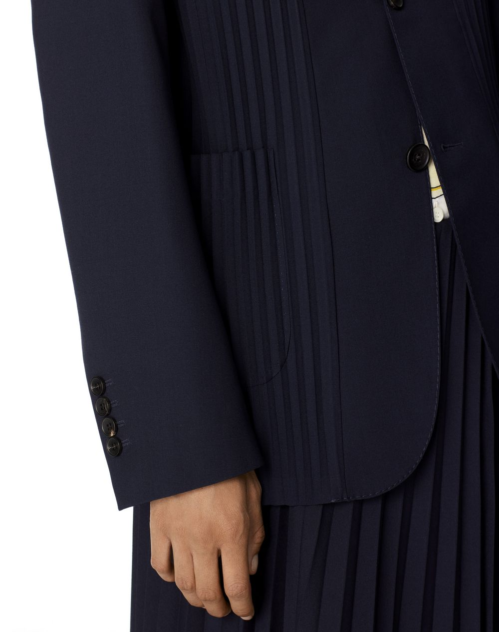 TAILORED JACKET WITH SUNBURST PLEATS - Lanvin