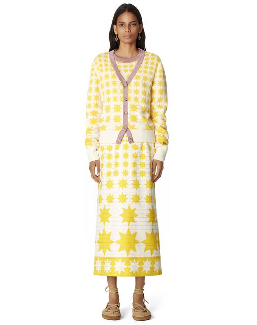 SUN-PATTERN COTTON AND WOOL CARDIGAN - Lanvin