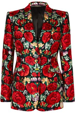 ALEXANDER MCQUEEN Floral-embroidered wool-blend blazer