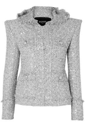 BALMAIN Metallic embellished bouclé-tweed hooded jacket