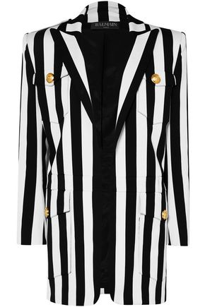 BALMAIN Button-detailed striped cotton-blend blazer