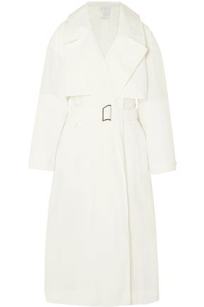 DEVEAUX Belted shell trench coat