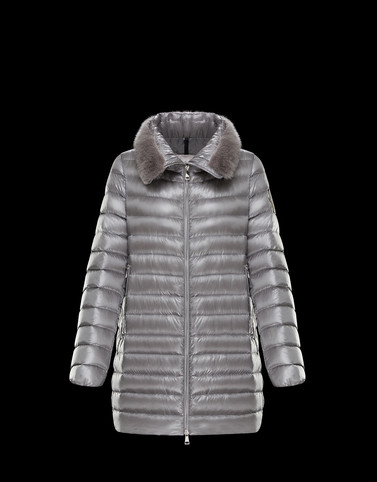 SOUFRE Grey Short Down Jackets Woman