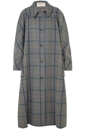 A.W.A.K.E. Oversized checked wool-blend coat