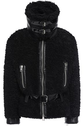 AINEA Belted faux leather-trimmed faux fur coat