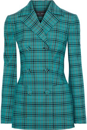 PROENZA SCHOULER Double-breasted Prince of Wales checked wool-blend blazer