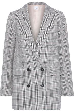 IRIS & INK Ash double-breasted checked tweed blazer