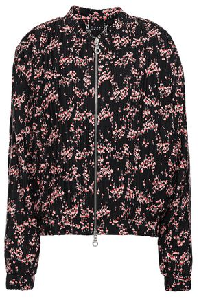 MARKUS LUPFER Rae floral-print plissé crepe de chine bomber jacket