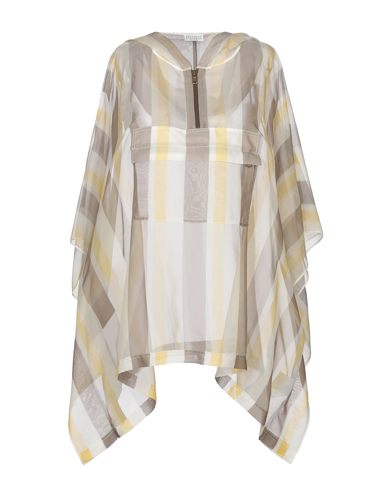 BRUNELLO CUCINELLI Capes & ponchos. organza, metal applications, stripes, single-breasted, hooded collar, single pocket, unlined, short sleeves. 100% Silk, Acetate, Brass