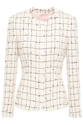 REBECCA TAYLOR Frayed checked cotton-blend tweed jacket