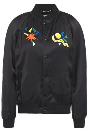 SAINT LAURENT Embroidered satin bomber jacket