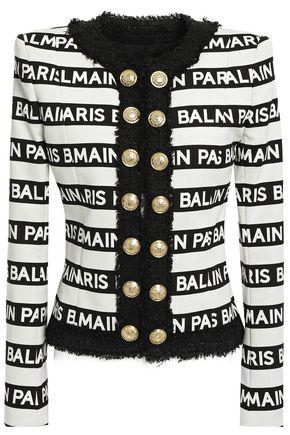 BALMAIN Embellished bouclé-trimmed logo-print cotton-blend jacket