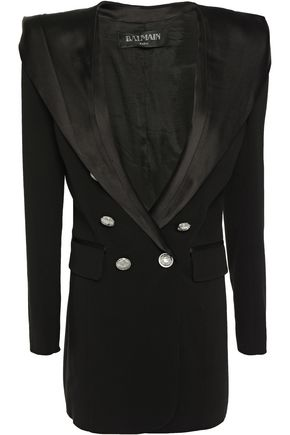 BALMAIN Double-breasted satin-trimmed crepe blazer