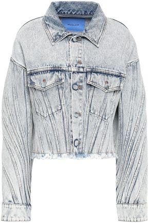 MUGLER Cropped frayed denim jacket