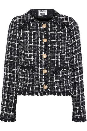 WALTER BAKER Baca faux leather-trimmed bouclé-tweed jacket