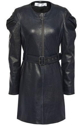 VICTORIA, VICTORIA BECKHAM Belted gathered leather mini dress
