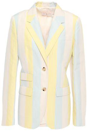 TORY BURCH Striped silk and linen-blend blazer
