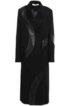VICTORIA BECKHAM Faux leather-trimmed cashmere and brushed-felt coat